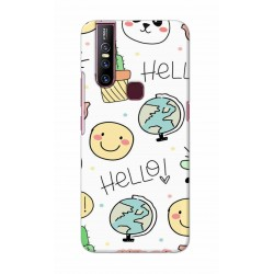 Crafting Crow Mobile Back Cover For Vivo V15 - Hello