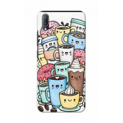 Crafting Crow Mobile Back Cover For Vivo V11 - Kawaii Coffee