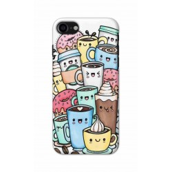 Crafting Crow Mobile Back Cover For Apple Iphone 8 - Kawaii Coffee
