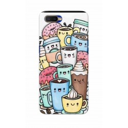 Crafting Crow Mobile Back Cover For Oppo K1 - Kawaii Coffee