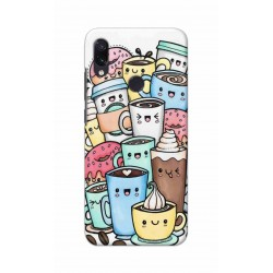 Crafting Crow Mobile Back Cover For Xiaomi Redmi Note 7 - Kawaii Coffee