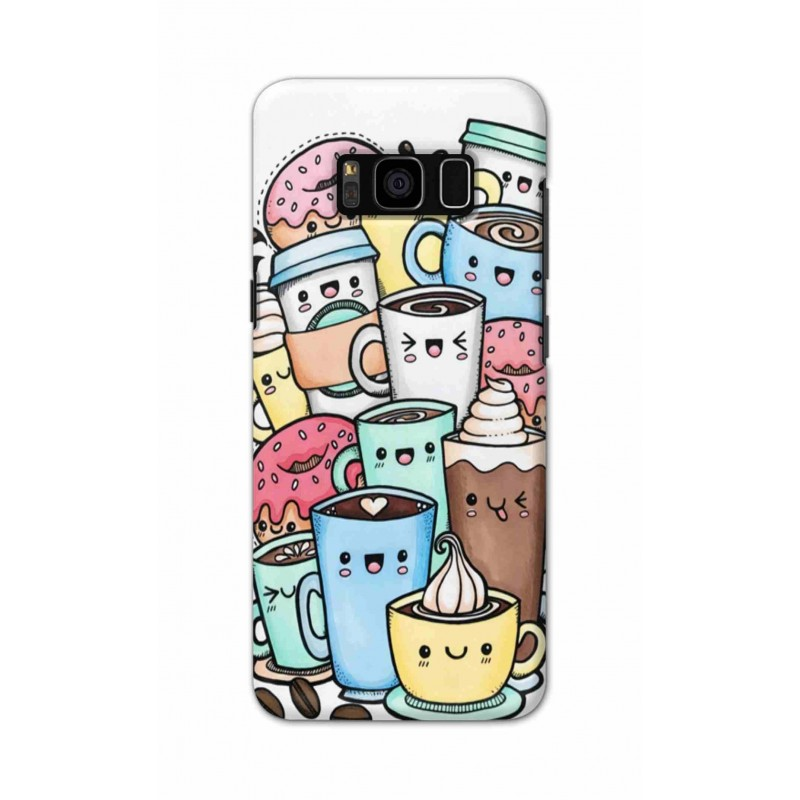 Crafting Crow Mobile Back Cover For Samsung S8 Plus - Kawaii Coffee