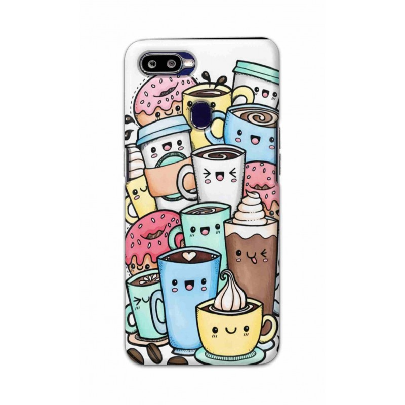 Crafting Crow Mobile Back Cover For Oppo F9 - Kawaii Coffee