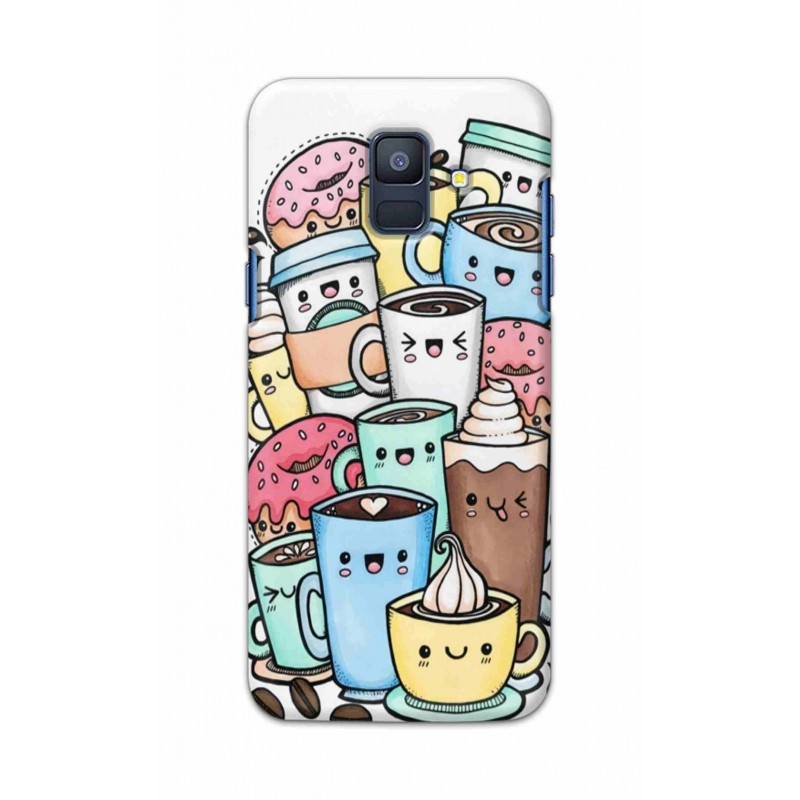 Crafting Crow Mobile Back Cover For Samsung Galaxy A6 2018 - Kawaii Coffee