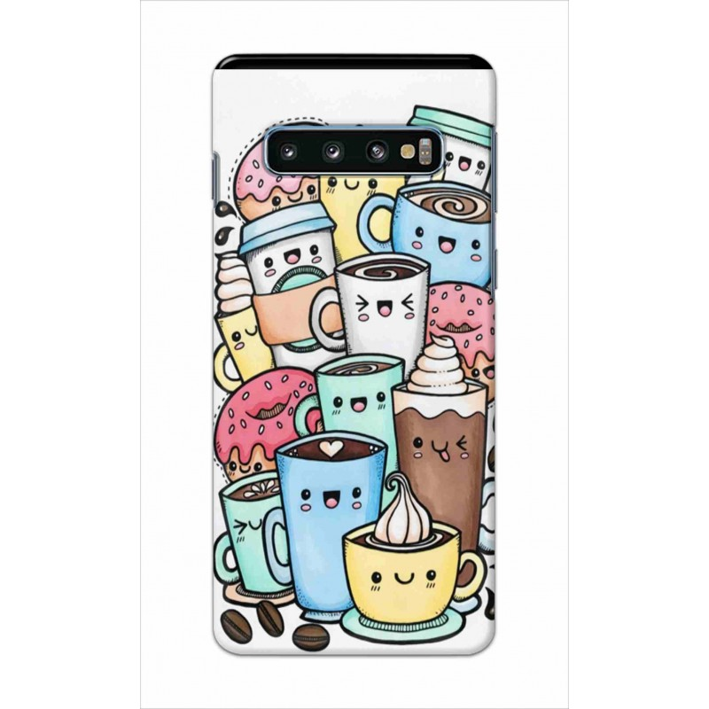 Crafting Crow Mobile Back Cover For Samsung Galaxy S10 Plus - Kawaii Coffee