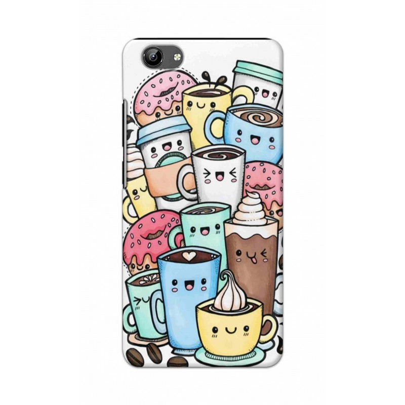Crafting Crow Mobile Back Cover For Vivo Y71 - Kawaii Coffee