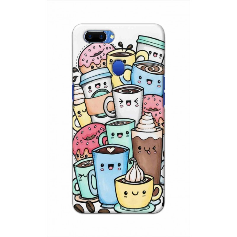 Crafting Crow Mobile Back Cover For Oppo A5 - Kawaii Coffee