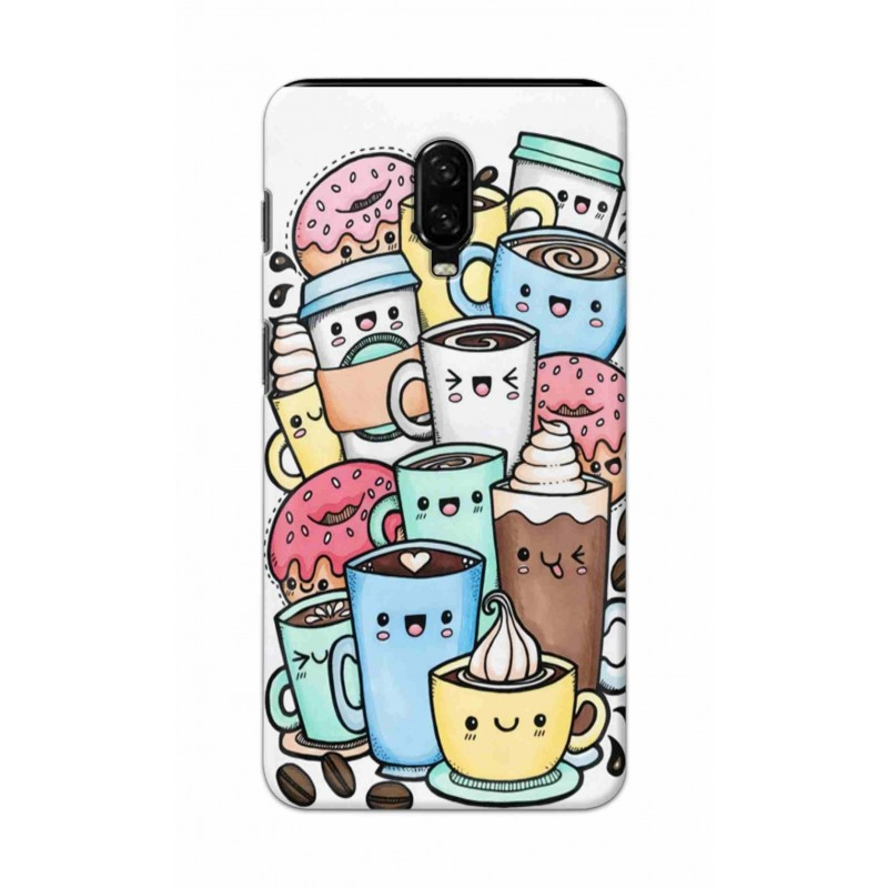 Crafting Crow Mobile Back Cover For One Plus 7 - Kawaii Coffee