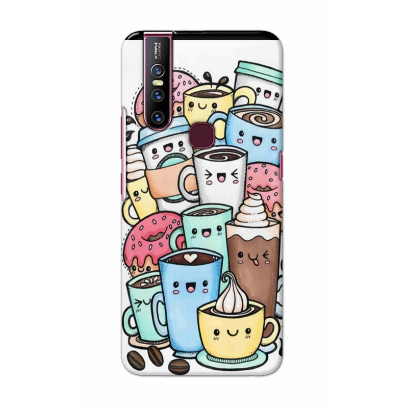 Crafting Crow Mobile Back Cover For Vivo V15 - Kawaii Coffee