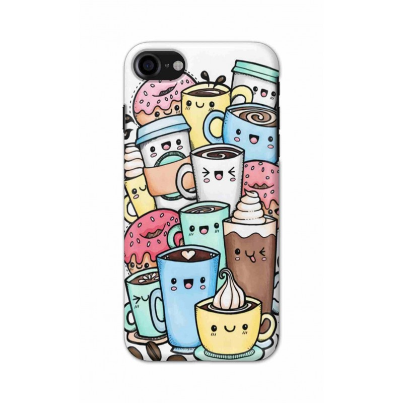 Crafting Crow Mobile Back Cover For Apple Iphone 7 - Kawaii Coffee