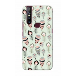 Crafting Crow Mobile Back Cover For Vivo V15 - Feather